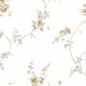 light reflective in-register floral trail in cream and grey wallcovering