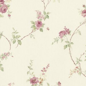 light reflective in-register floral trail in burgundy and green wallcovering