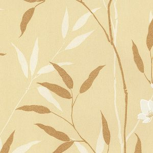 light reflective in-register bamboo leaves in ochre and gold wallcovering