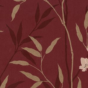 light reflective in-register bamboo leaves in red and taupe wallcovering
