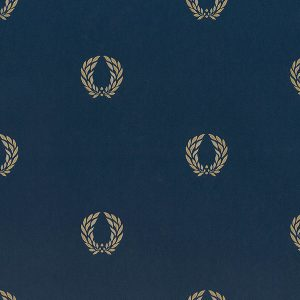 light reflective in-register laurel leaf in navy and gold wallcovering