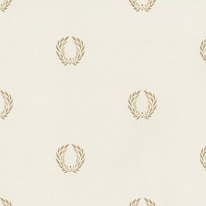 light reflective in-register laurel leaf in cream and gold wallcovering