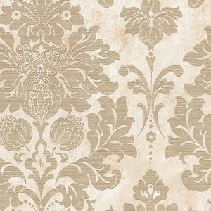 light reflective in-register damask in beige and gold wallcovering