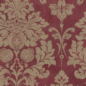 light reflective in-register damask in raspberry and gold wallcovering