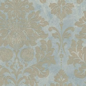 light reflective in-register damask in blue beige and gold wallcovering
