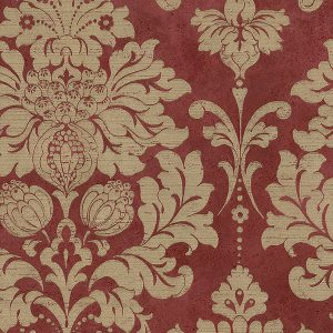 light reflective in-register damask in red and gold wallcovering