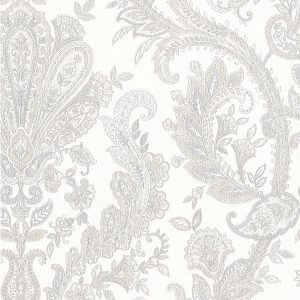 light reflective jacobean paisley in silver and grey wallcovering